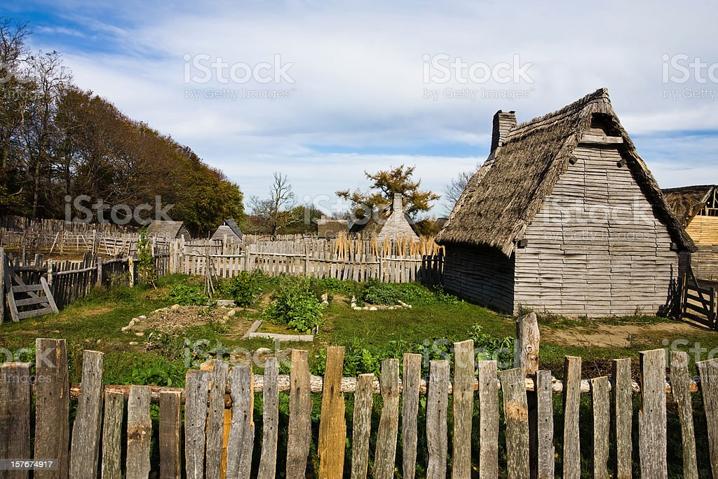 Colonial homes and garden stock photo