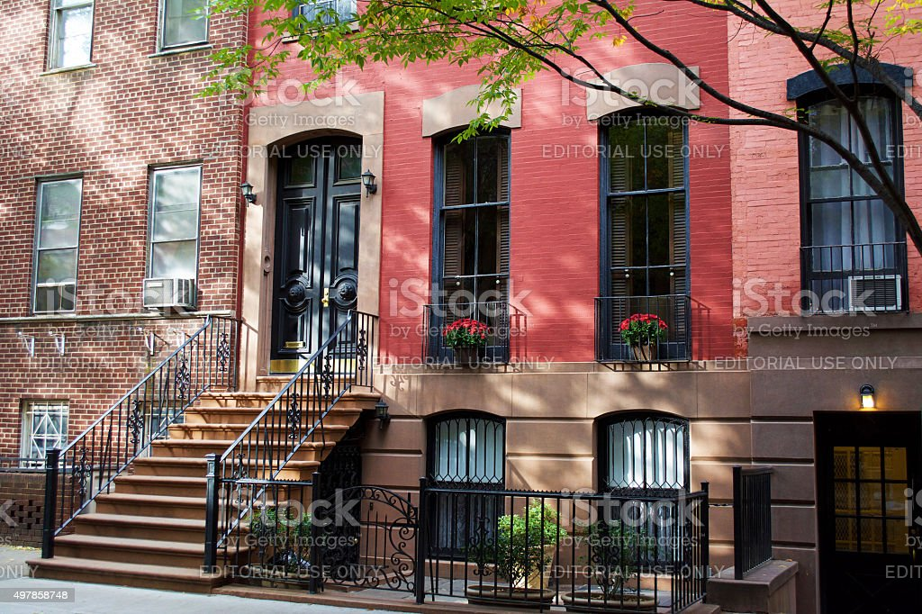 Colonial Homes in Greenwich Village New York City stock photo