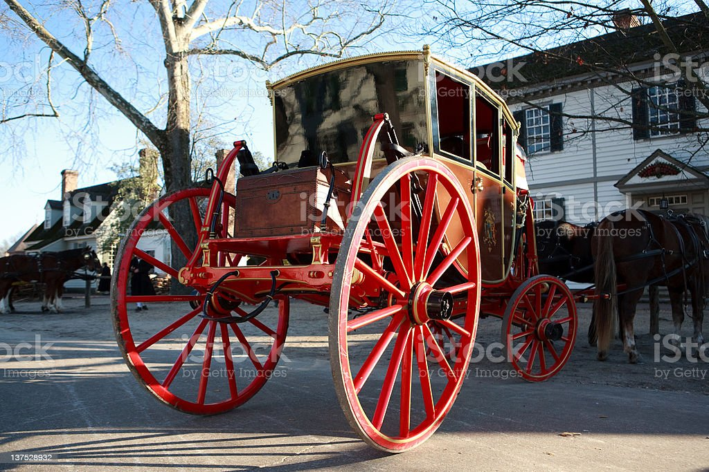Colonial horse and carriage in Williamsburg, Va royalty-free stock photo