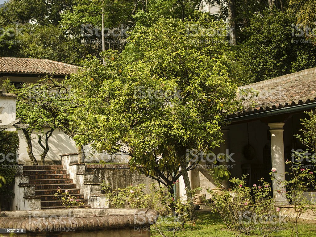 colonial house, camp house stock photo