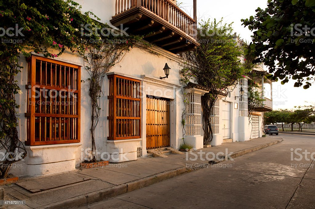 Colonial House in Cartagena Colombia stock photo