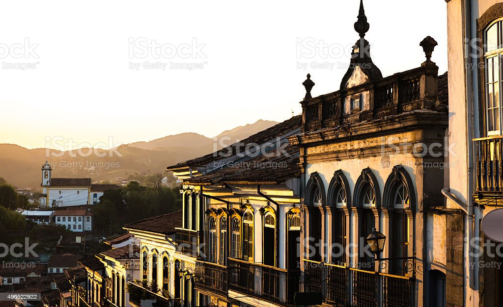 Colonial houses in Ouro Preto in Minas Gerais, Brazil stock photo
