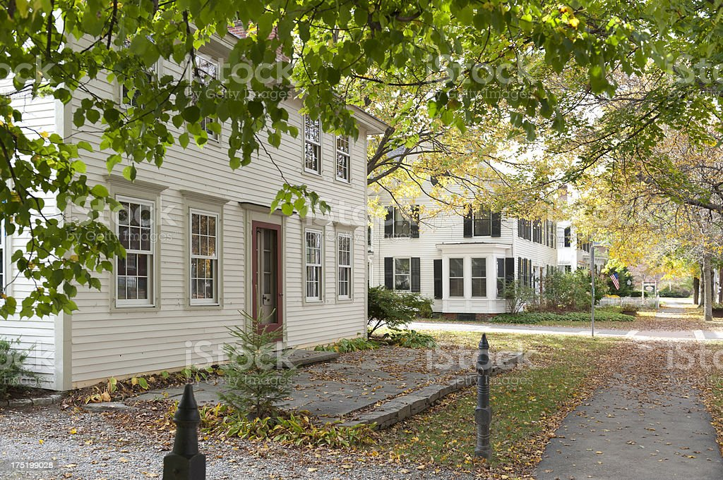 Colonial houses on typical New England street stock photo
