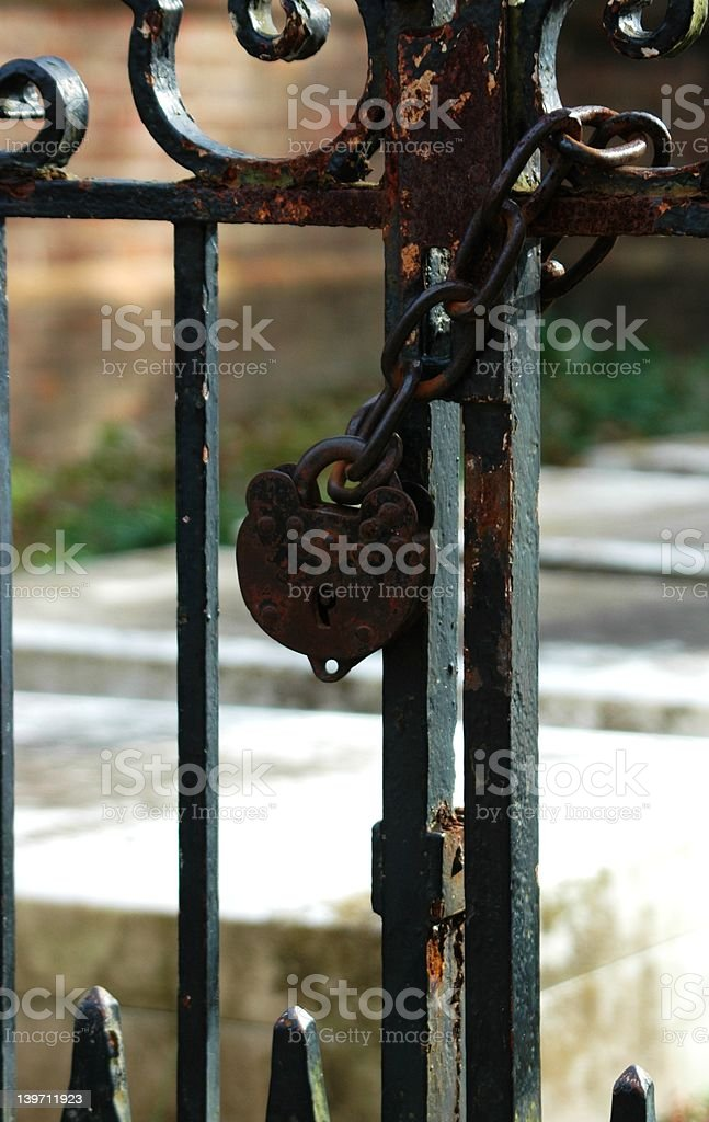 Colonial lock and chain royalty-free stock photo