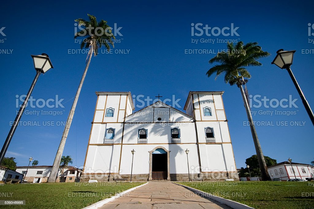 Colonial Main Church of Pirenopolis at Goias State Brazil stock photo