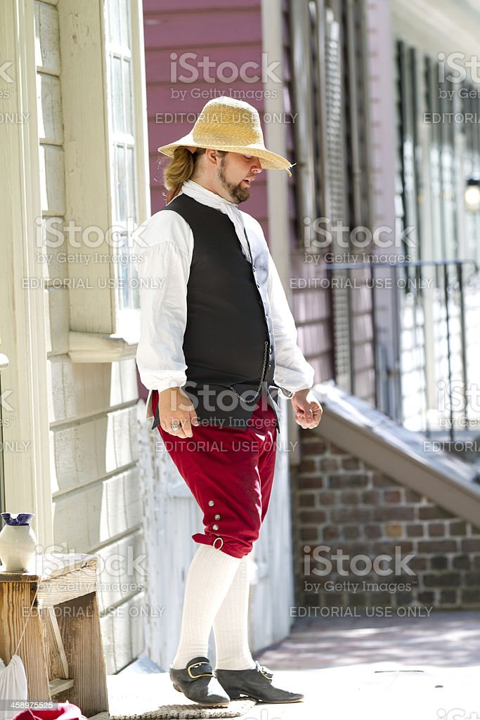 Colonial man in Williamsburg, Va royalty-free stock photo