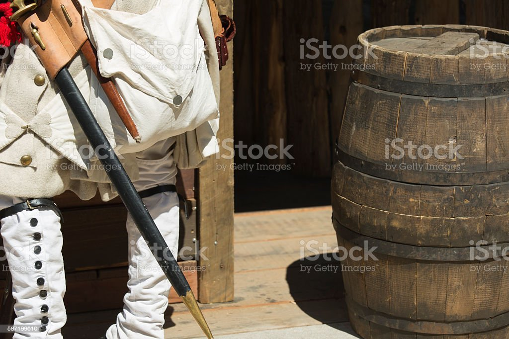 Colonial Men Clothing Detail and Decor stock photo