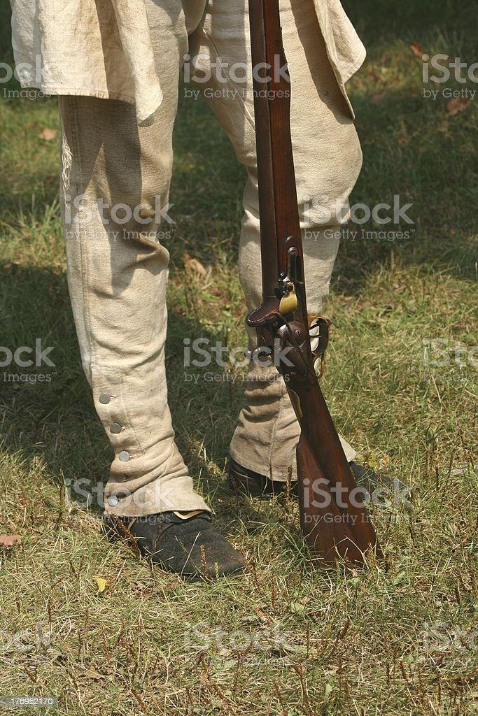 Colonial Militiaman--Revolutinary War Reenactment stock photo