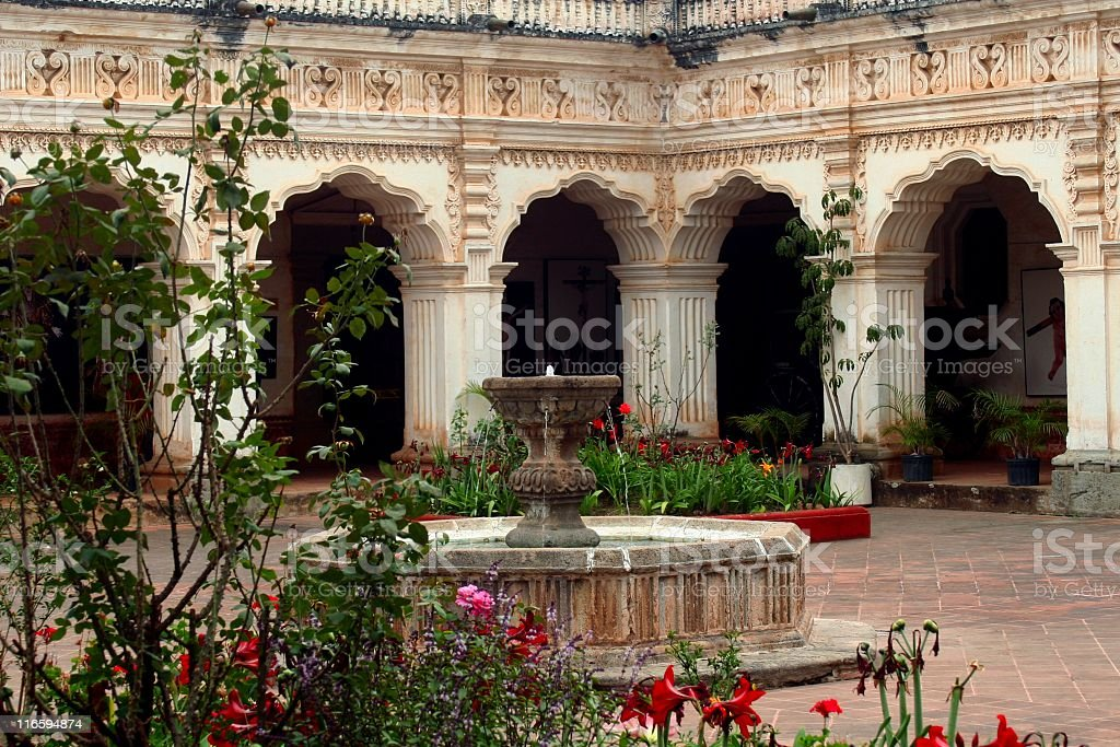 Colonial patio in Antigua stock photo