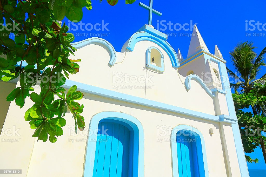 Colonial portuguese São Francisco church,  Praia do Forte, Bahia, Brazil stock photo