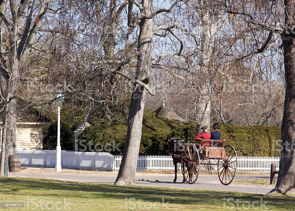 colonial scene in Williamsburg, Virginia stock photo