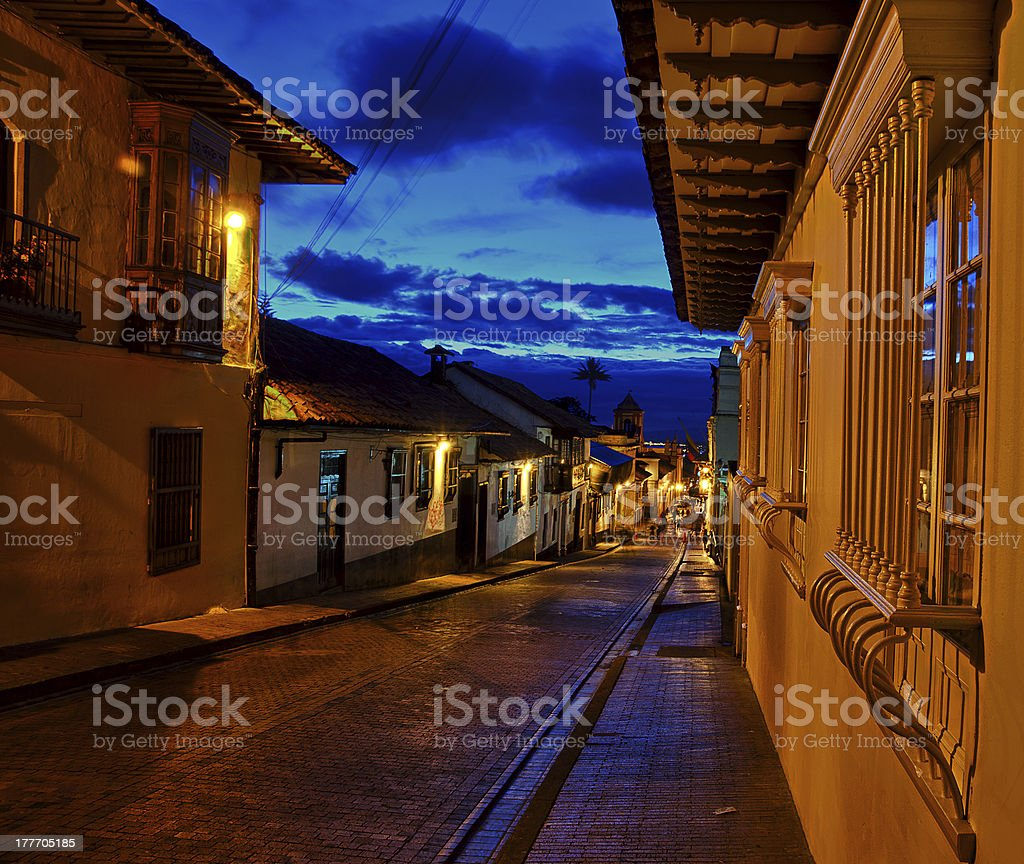 Colonial Street at Night stock photo