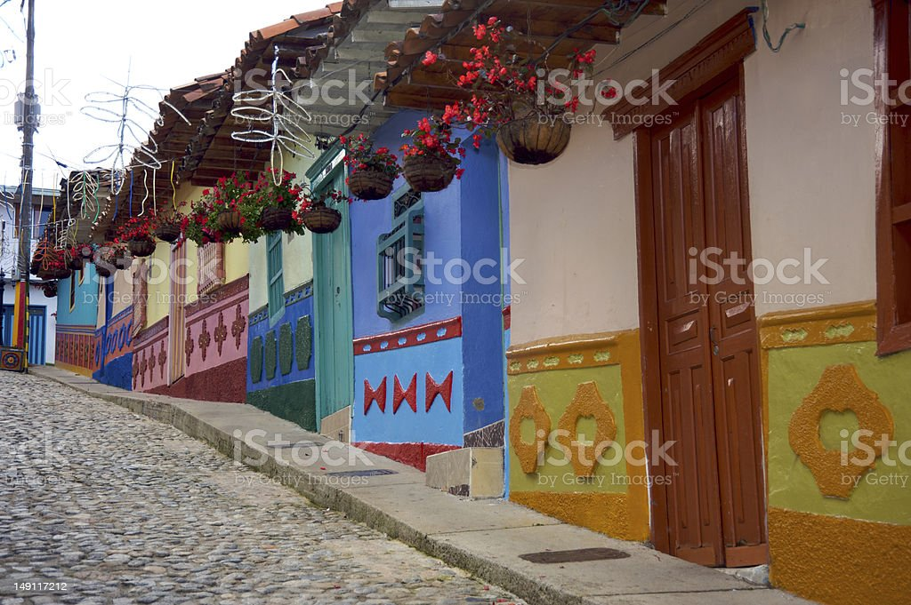 Colonial street in Colombia royalty-free stock photo