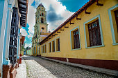 Colonial street in vibrant city of Trinidad, Cuba