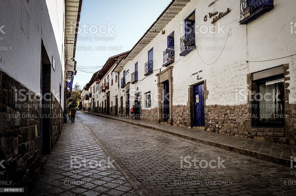 Colonial streets of Cusco, Peru in South America stock photo