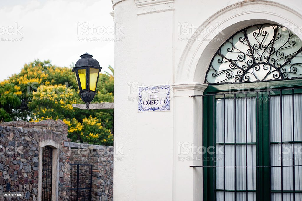 Colonial style architecture in Uruguay stock photo