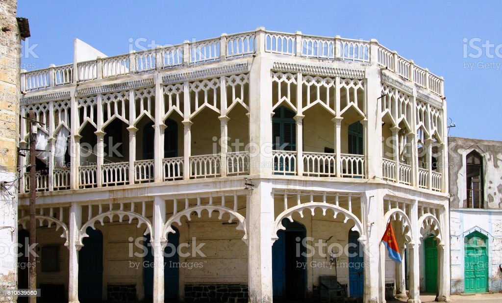 Colonial style building at the street of Massawa, Eritrea stock photo