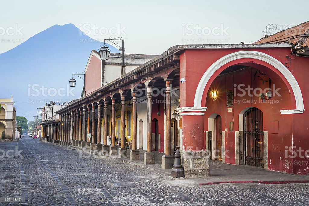 Colonial Style Buildings, Antigua, Guatemala. stock photo
