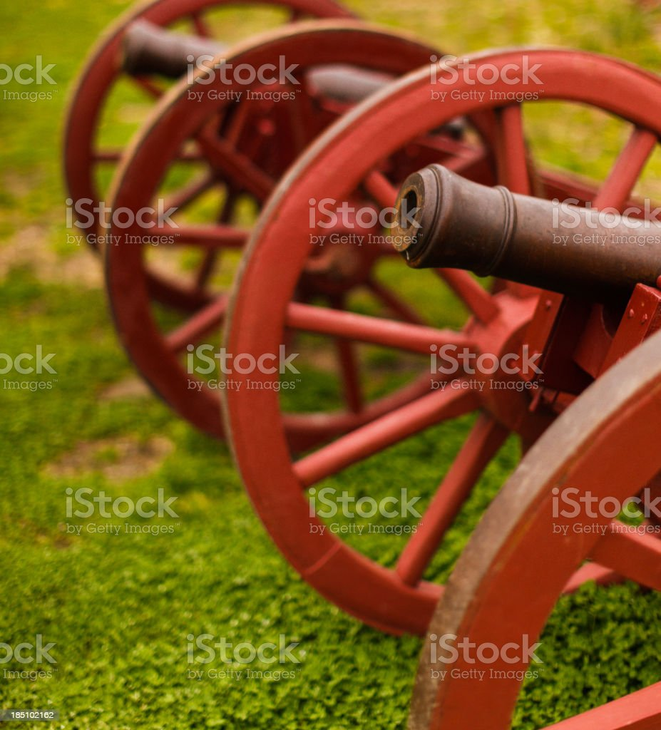 colonial style cannons stock photo