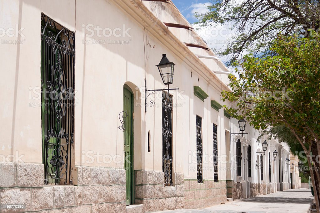Colonial style houses, Argentina stock photo