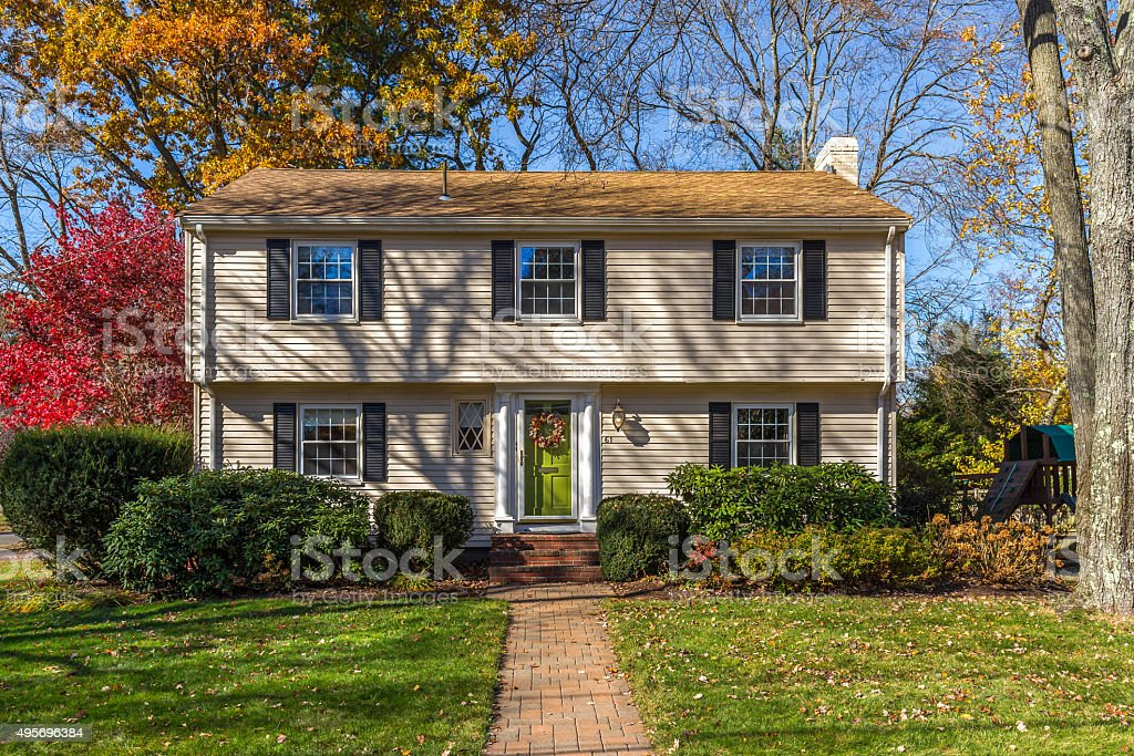 Colonial style New England Home. House Exterior stock photo