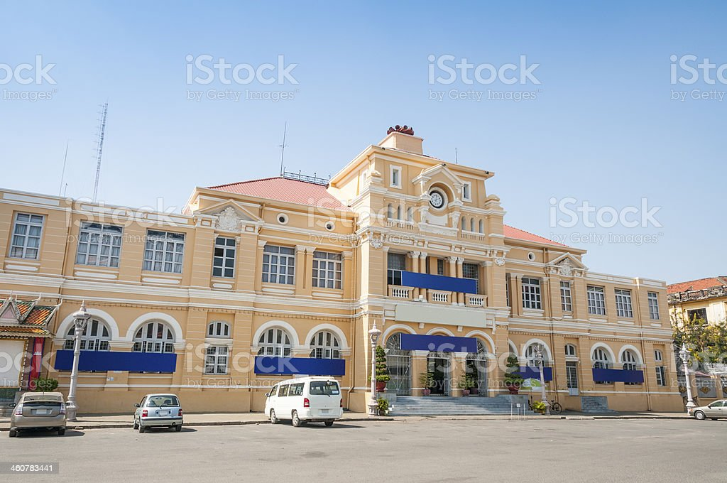 Colonial Style Post Office In Phnom Penh, Cambodia stock photo