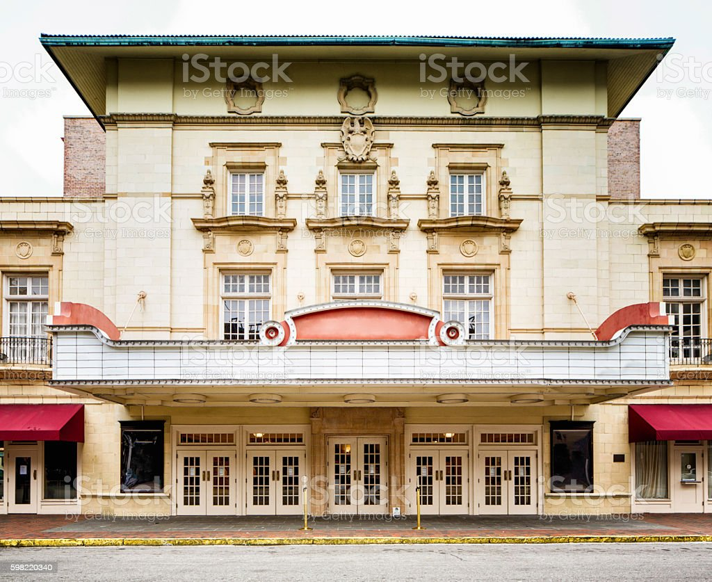 Colonial style southern USA movie theater concert hall facade stock photo