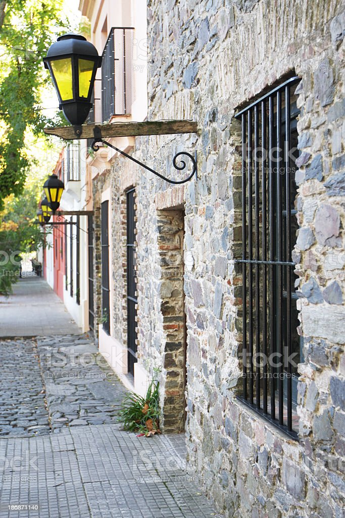 Colonial style stone houses at Colonia del Sacramento stock photo