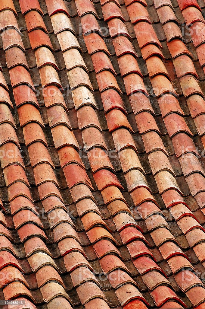 Colonial terracotta red-orange tiles royalty-free stock photo