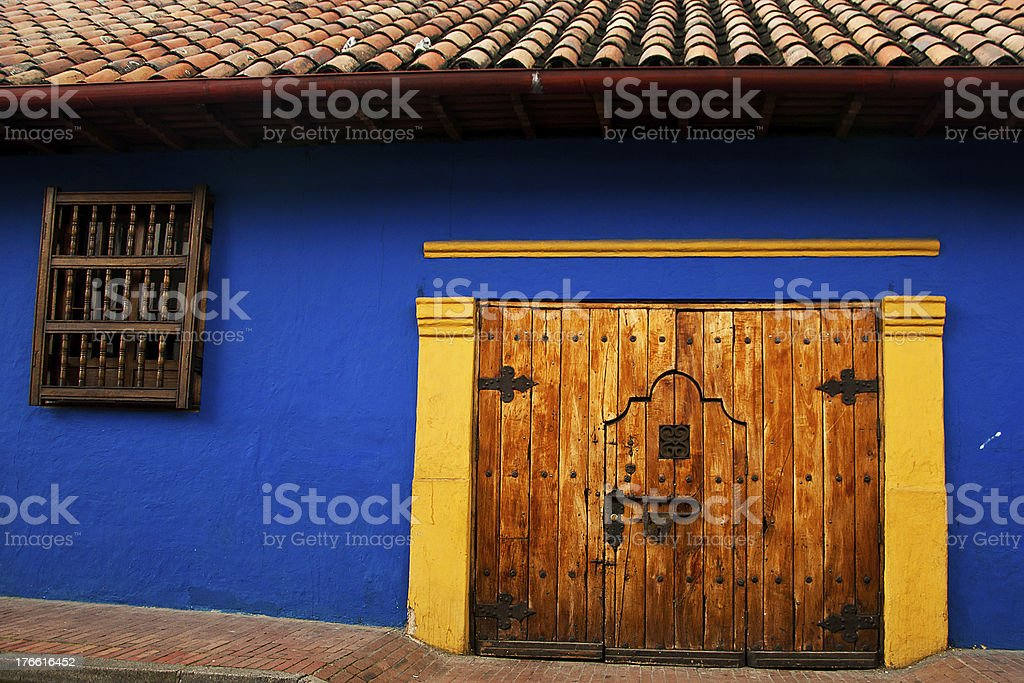 Colonial Wall and Door royalty-free stock photo