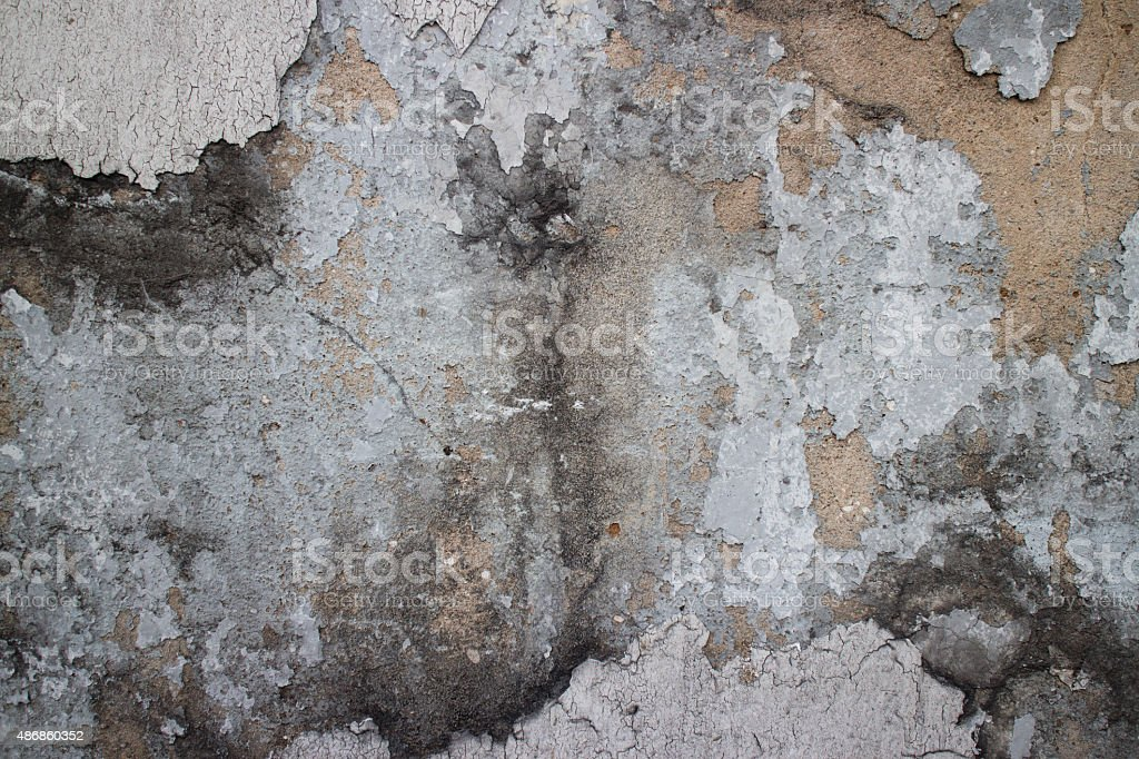 Colonial wall in Asia with missing black mold and stucco stock photo