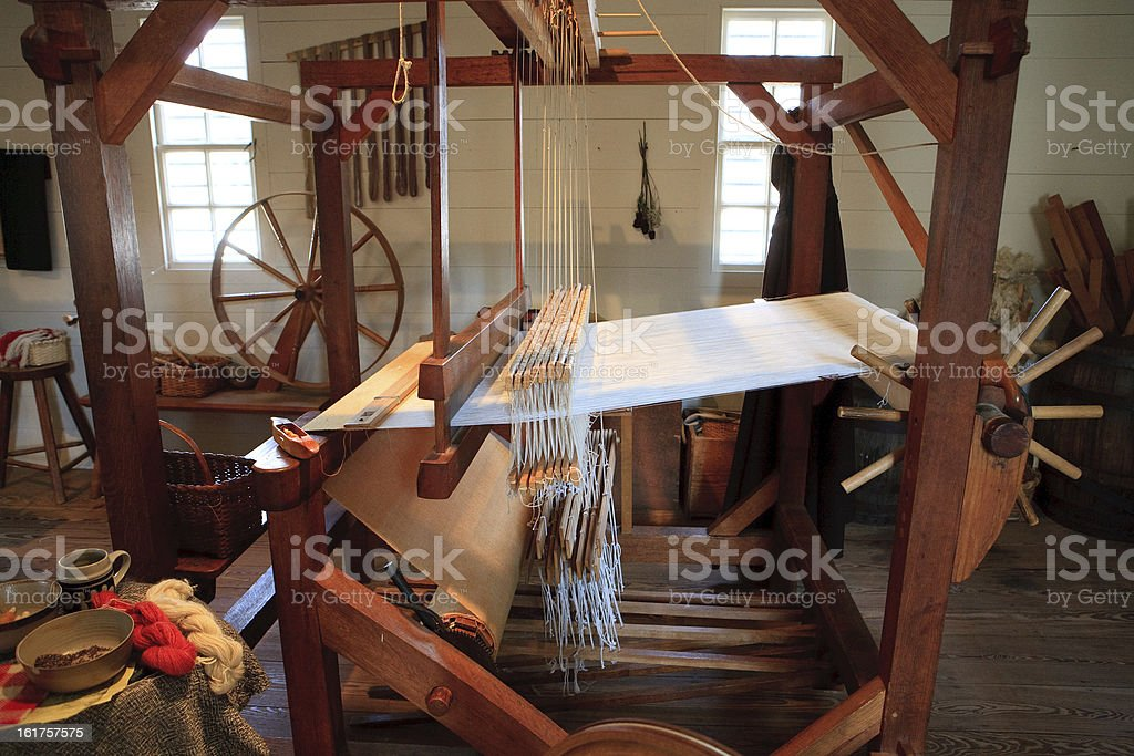 Colonial weaver in Williamsburg, Va stock photo