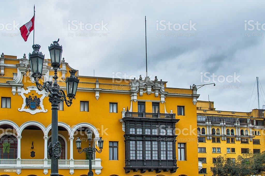 Colonial yellow building, Lima, Peru stock photo