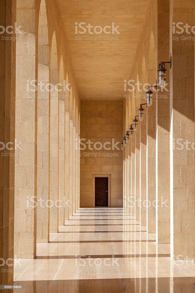 Colonnade at the Grand Mosque in Bahrain stock photo