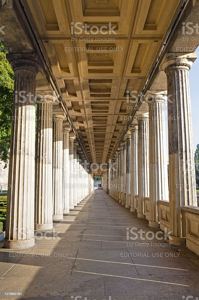 Colonnade at the Museuminsel stock photo