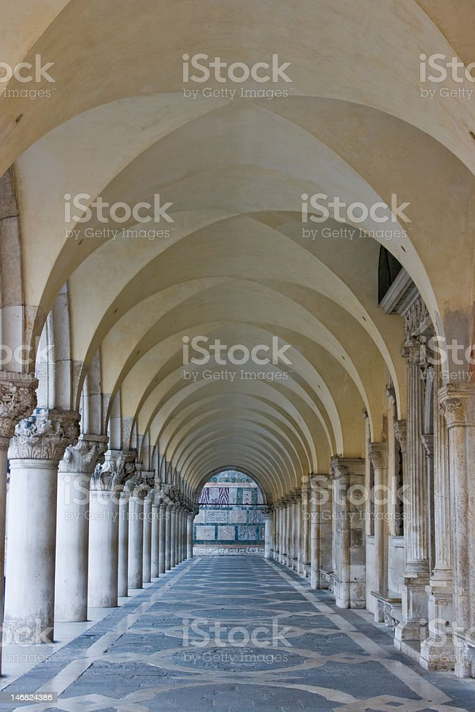 Colonnade, Doge's Palace, Venice, Italy stock photo
