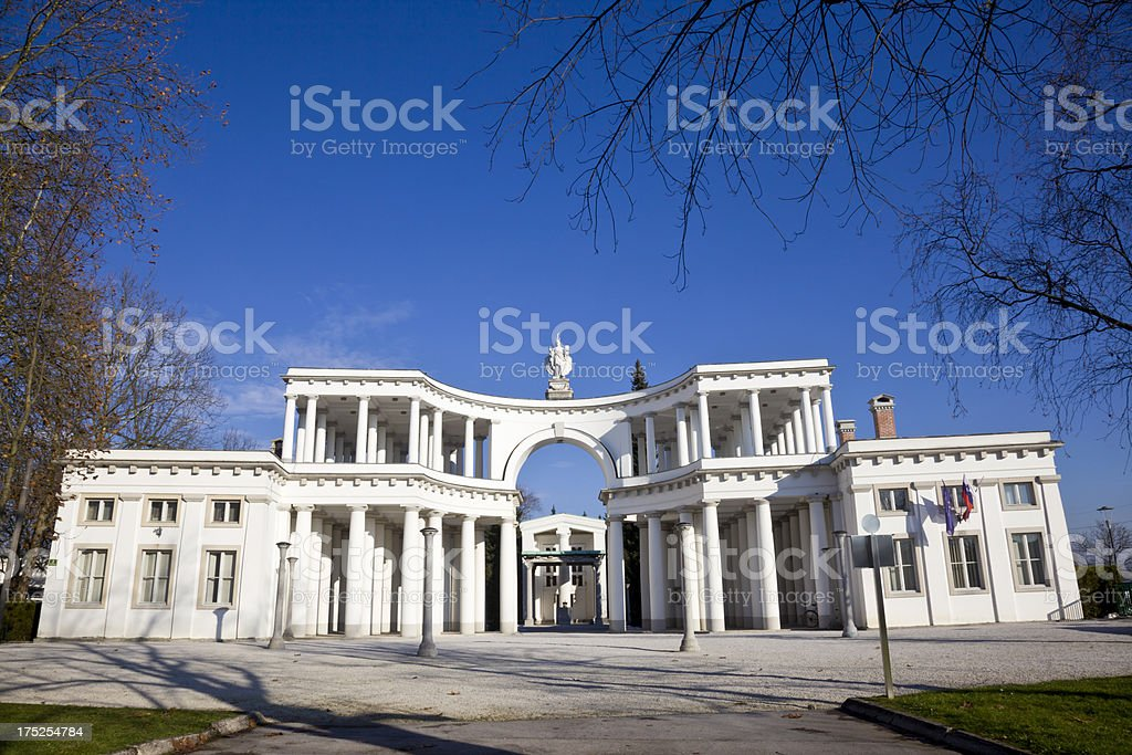 Colonnade entrance to the Zale cemetery in Ljubljana. stock photo