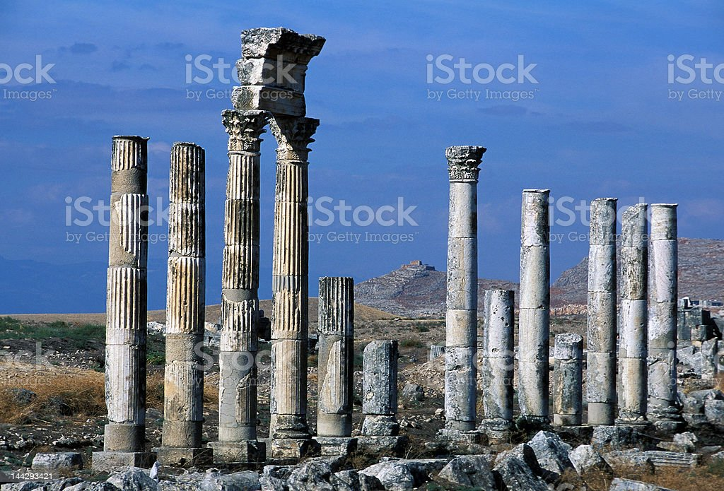 Colonnade in Apamea royalty-free stock photo
