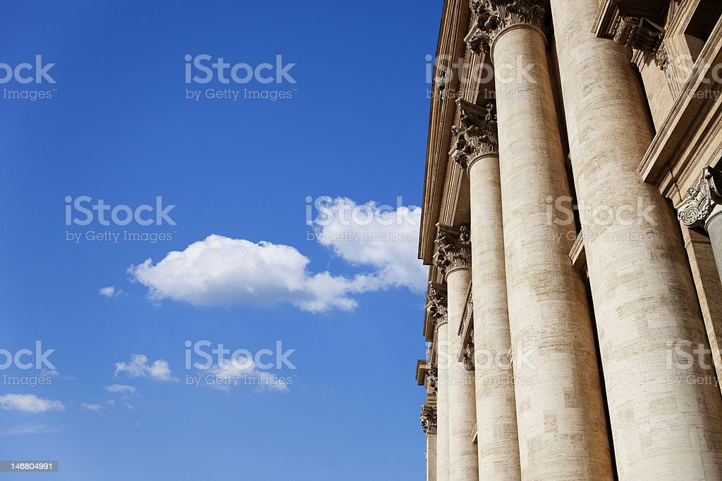 Colonnade in front of the St. Peter's Basilica . royalty-free stock photo