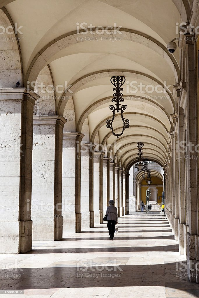 Colonnade in Lisbon stock photo