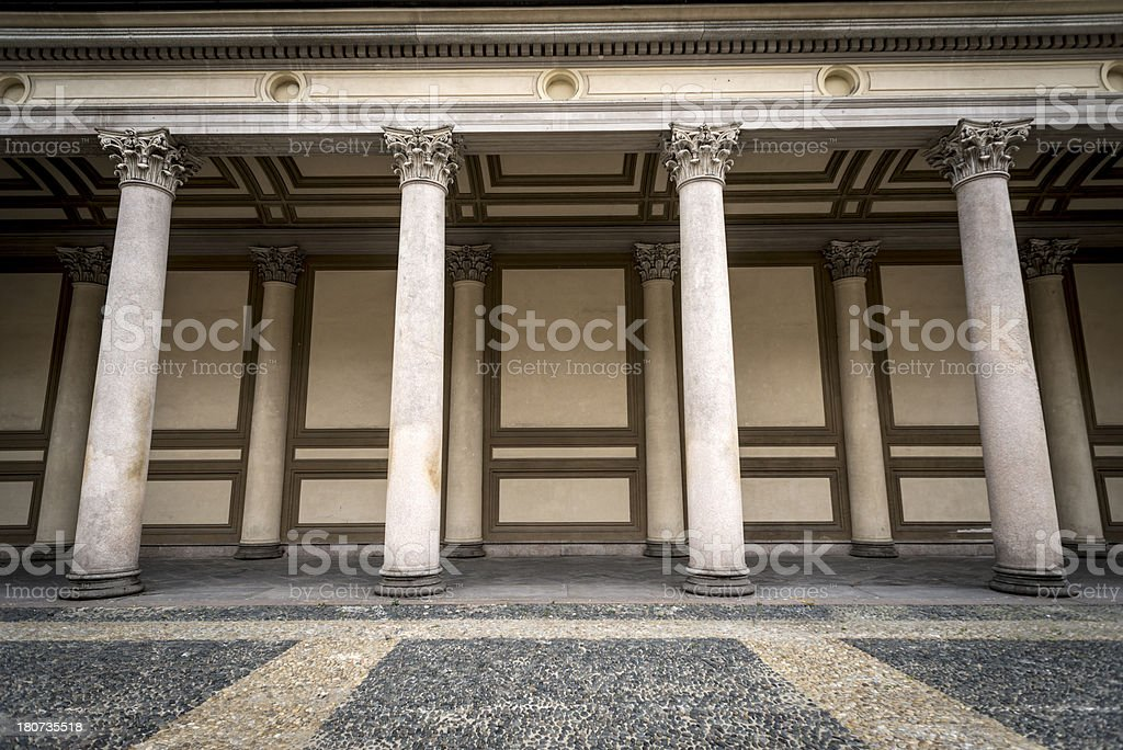 Colonnade in Novara, Italy royalty-free stock photo