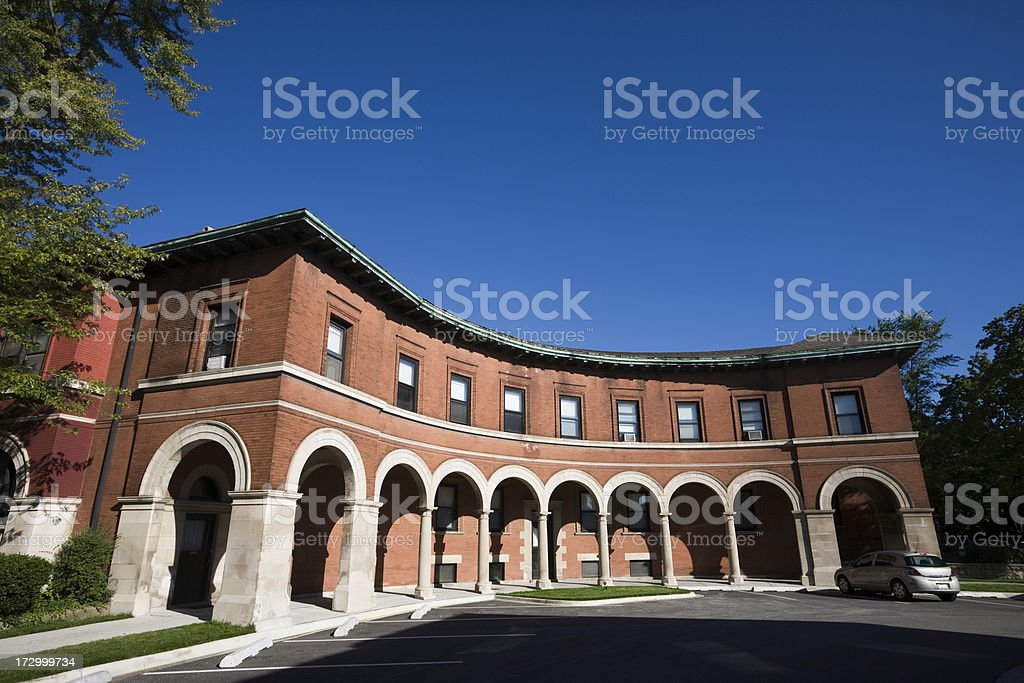Colonnade in Pullman, Chicago stock photo
