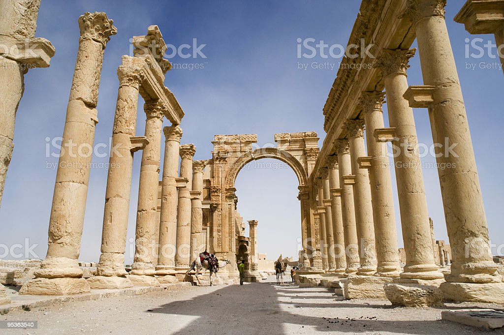 Colonnade in roman ruins of Palmyra, Syria royalty-free stock photo
