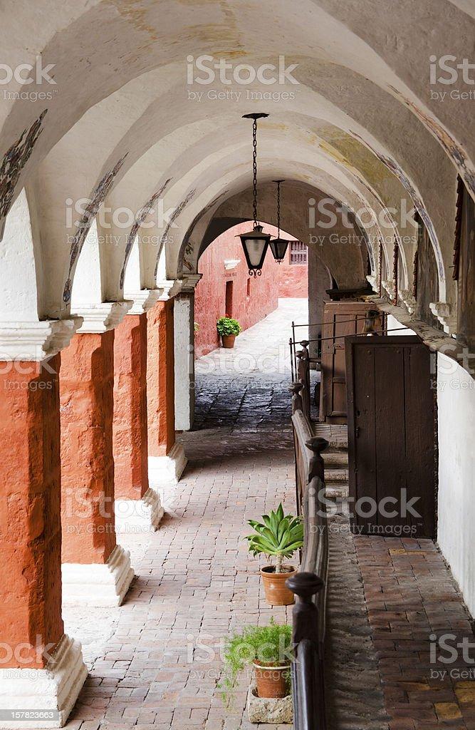 Colonnade in Santa Catalina Monastery, Arequipa, Peru royalty-free stock photo