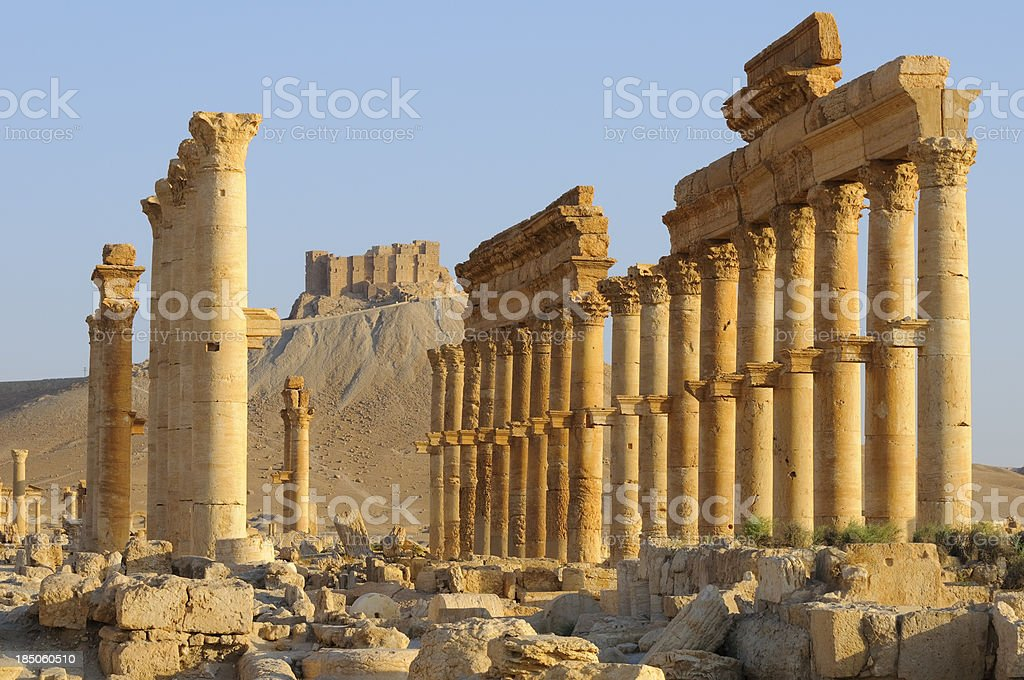 Ancient ruins in Middle East in Palmyra, Syria royalty-free stock photo