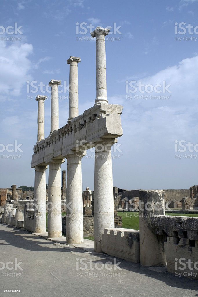 Colonnade in the ancient forum  Pompeii stock photo