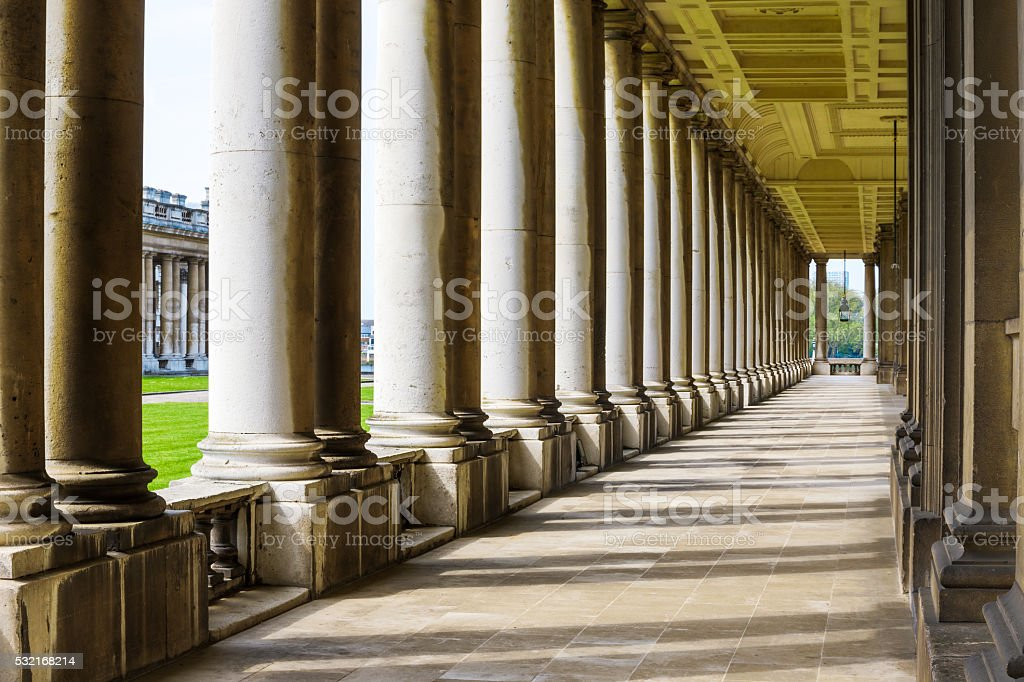 Colonnade in University of Greenwich stock photo