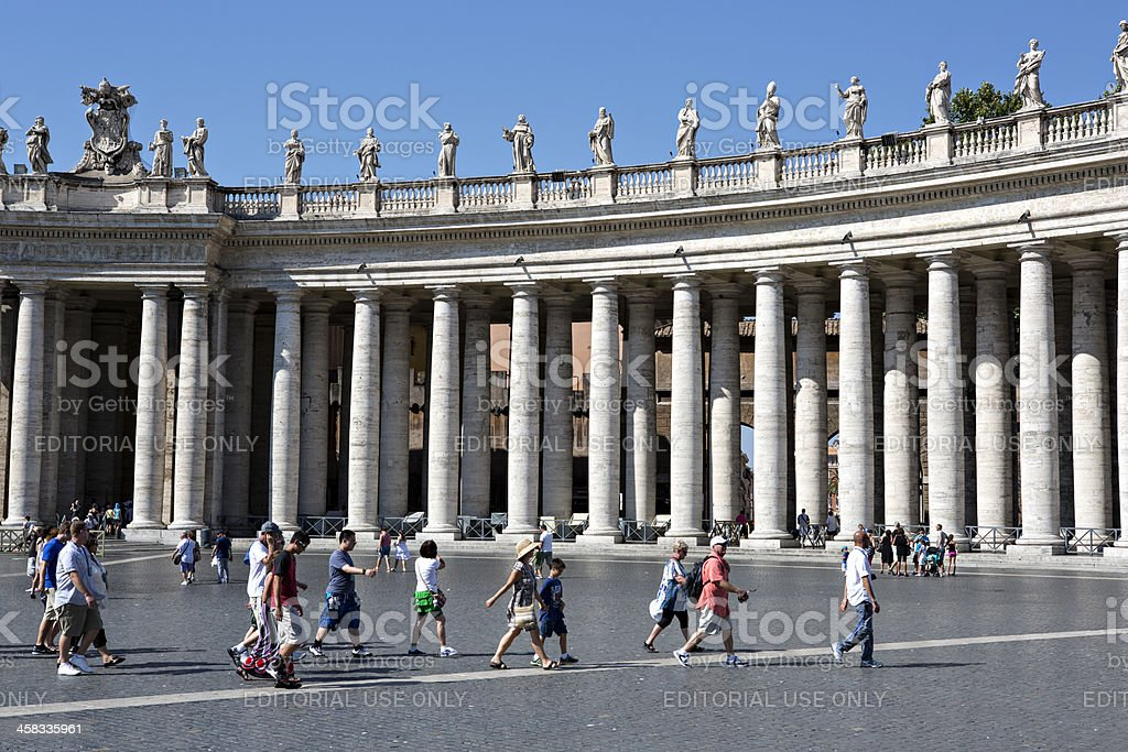 Colonnade of Bernini at the Piazza St. Peter's, Vatican, Rome royalty-free stock photo