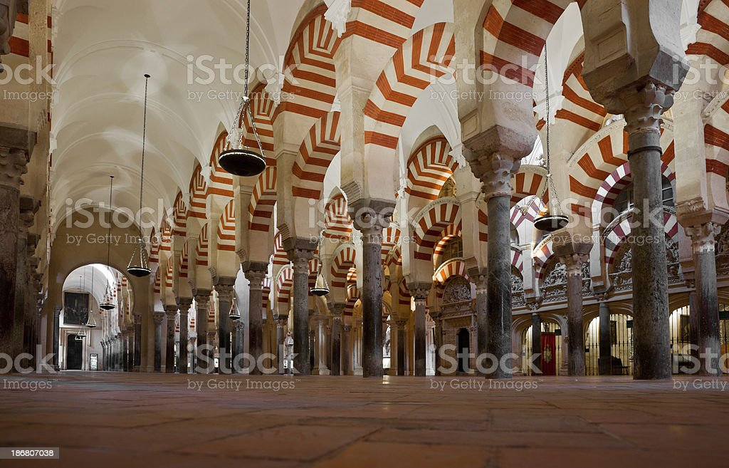 Colonnade of La Mezquita Cathedral (Córdoba Mosque) royalty-free stock photo