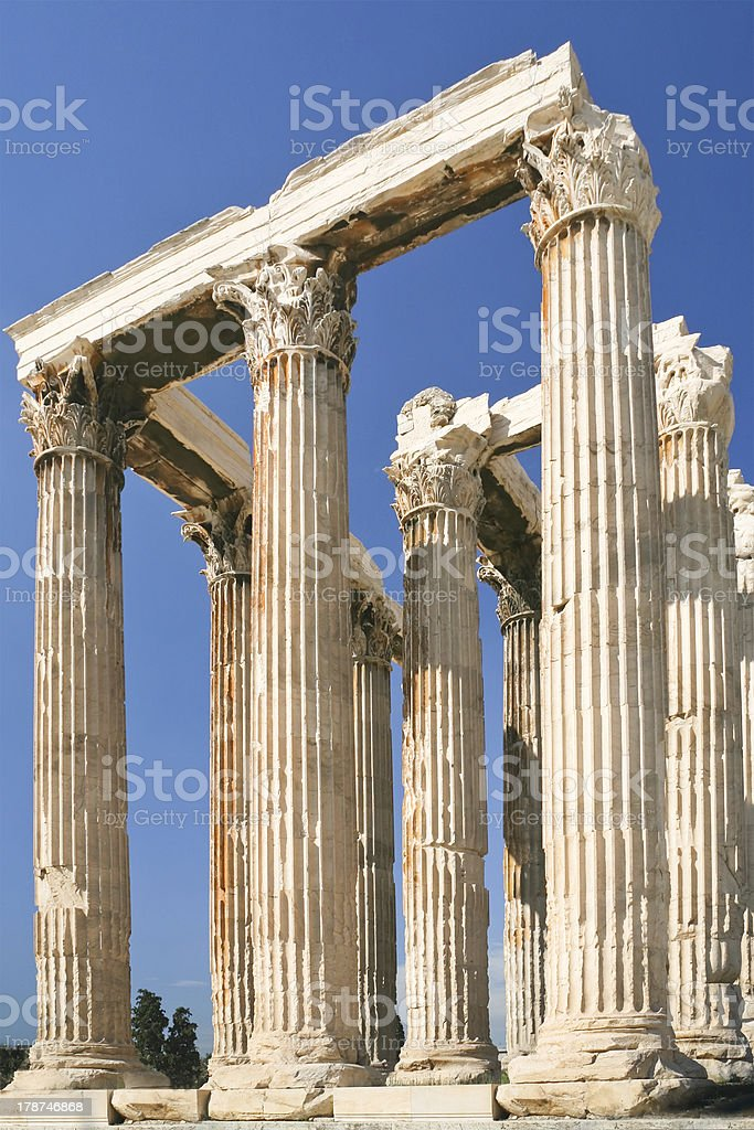 colonnade of  Olympian Zeus Temple, Athens royalty-free stock photo